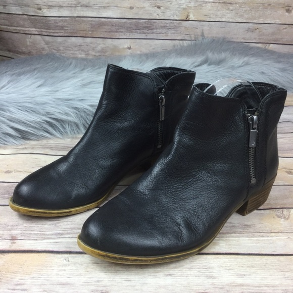 4ef234a1c7d Lucky Brand Black Leather Double Zip Heel Bootie